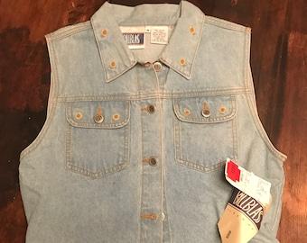 Vintage 80s Bill Blass Embroidered Denim Vest   Vintage Ladies Embroidery Jean Vest with Daisies