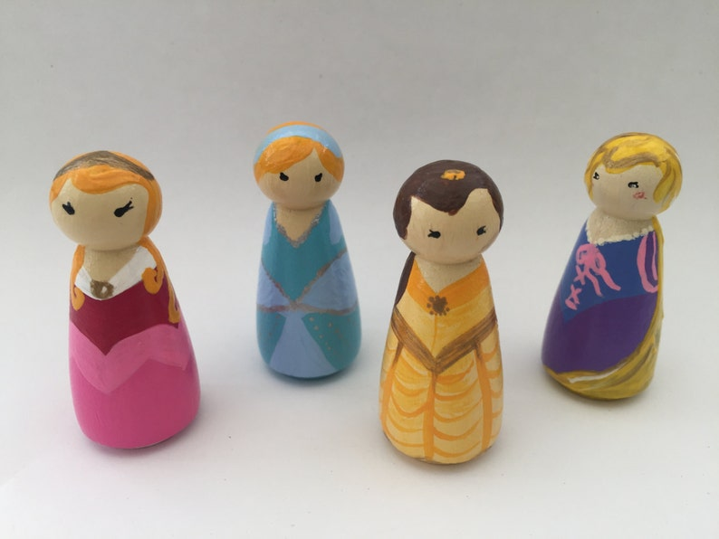 Disney Princess Hand Painted Wooden Peg Doll Eyfs Gift Education Smallworld Disney