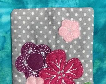 Machine Embroidered Flower pouch