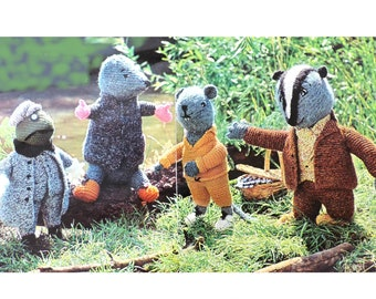 Badger Toad Mole Rat Toys Knitting Pattern PDF, The Wind in the Willows Character Toys, Four Storytelling Stuffed Soft Toy Animal Doll, DK