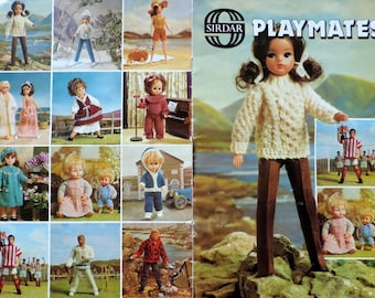 Dolls Clothes Knitting Pattern PDF Baby Doll Outfit Teen Fashion Doll Clothes Sindy Barbie Ken Action Man GI Joe Tiny Tears Instant Download