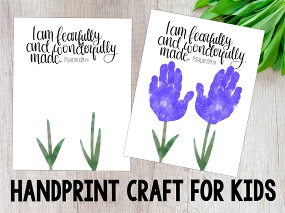 I Am Fearfully And Wonderfully Made Handprint Craft for Kids