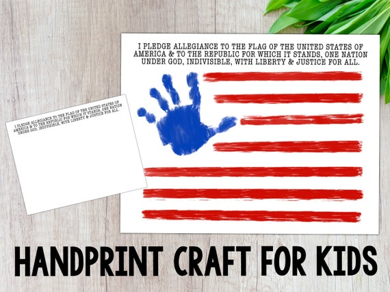 Flag Handprint Craft Fourth Of July Handprint Pledge Of Allegiance American Flag Kids Craft Digital Download Printable