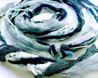 Boho Head Scarf | Blue and White Flowered Head Wrap | Multi-Strand Beautiful Bohemian Hair Wrap | Turbans and Headbands