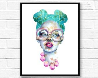 Modern Art, Watercolour Style Painting, Printable Art, Download & Print, Home Decor, Original Art, Cool Art Print, Wall Art, 32 x 22 inches