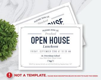 Made To Order PDF DIGITAL FILE Open House Invitation, Modern Retro  Invitation, Daycare, Preschool, School, Business Open House, 5X7
