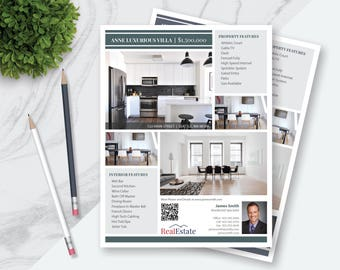 real estate flyer and postcard templates apple pages etsy