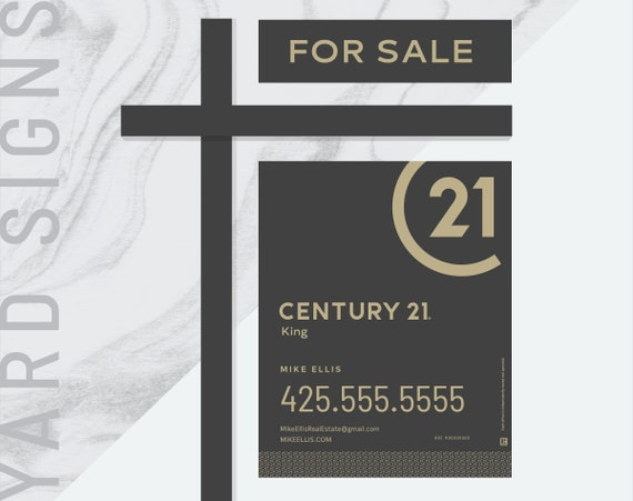 Digital pdf 3 made to order century 21 real estate yard signs etsy image 0 reheart Images