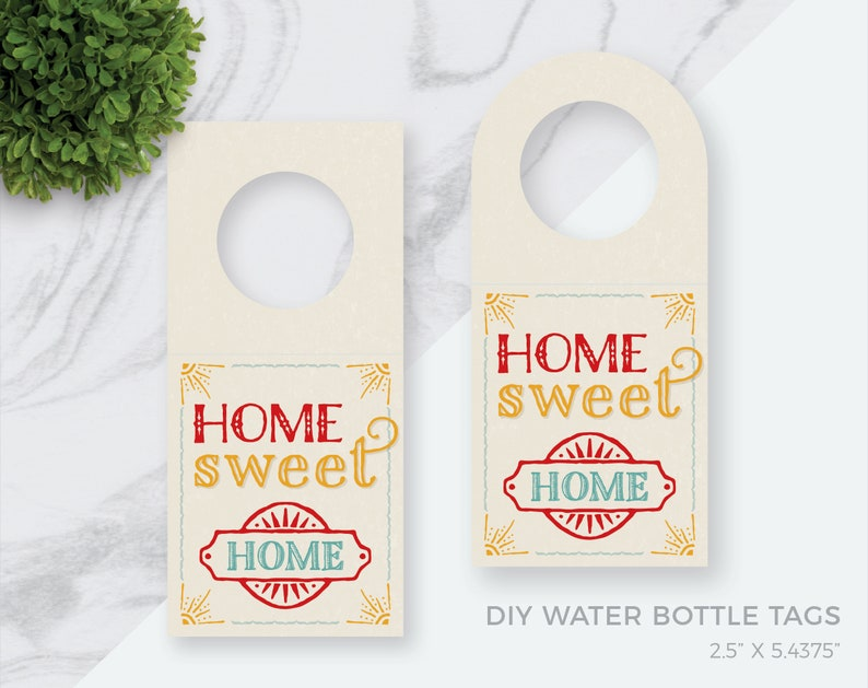 Vintage Water Bottle Tags No.14 Realtor Bottle Tag Beautiful DIY OPEN HOUSE Bottle or Wine Tag Hanger 2.5x5.4375 Open House Bottle Tag