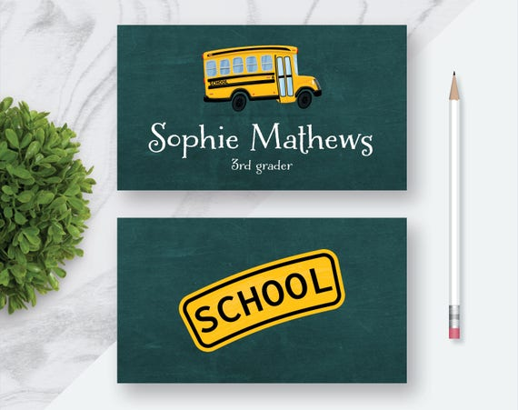 Schulbus Personalisierte Individuelle Visitenkarte Lustige Visitenkarten Für Kinder Lehrer Visitenkarte Kinder Spaß Karte Druckbare Digitale