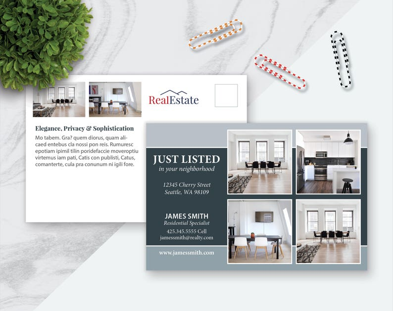 6 X 4 Real Estate Postcard Template Marketing Template Etsy