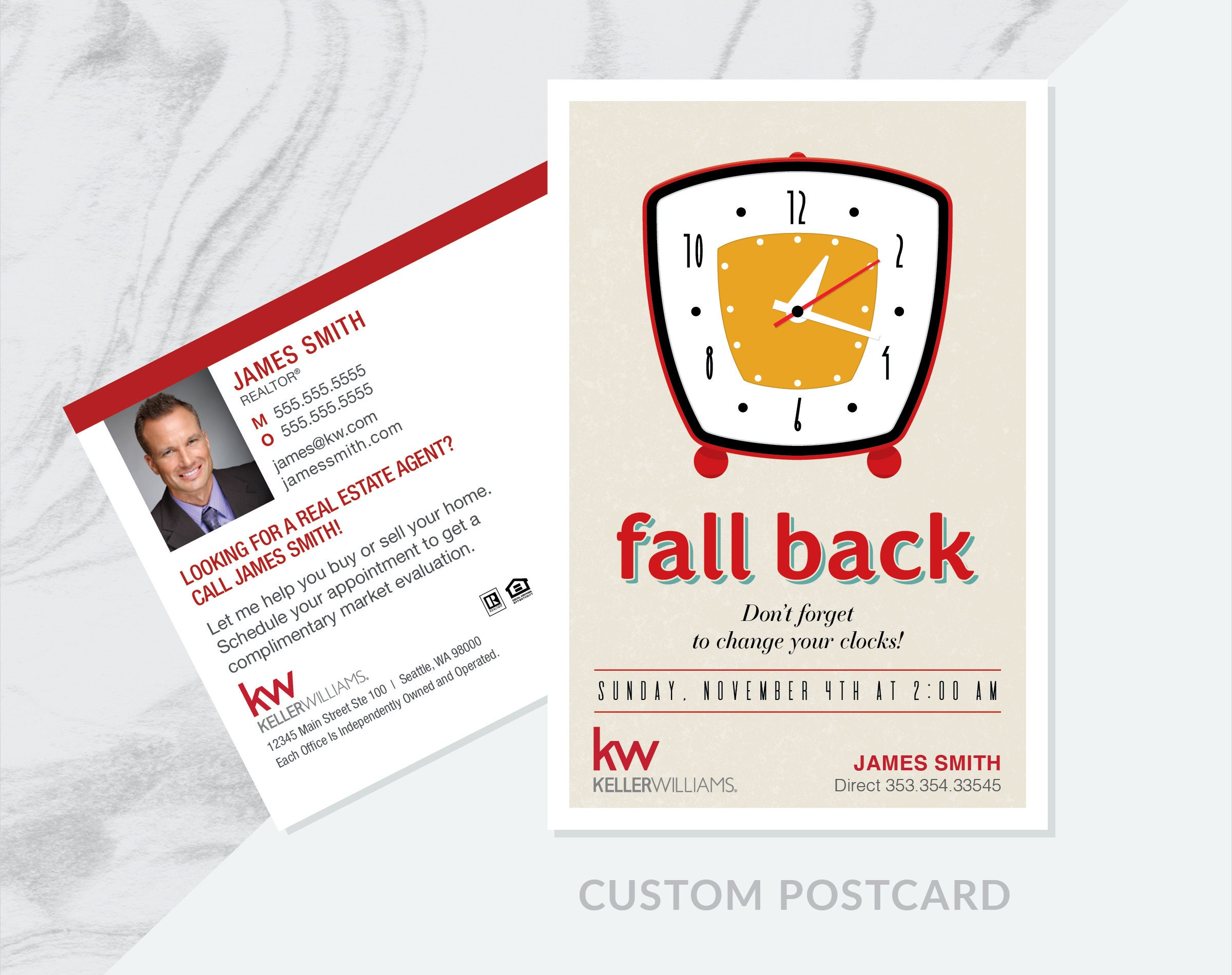 Custom Fall Back Real Estate Prospecting Postcard, Realtor Prospecting  Card, Realty Personalized Design 4