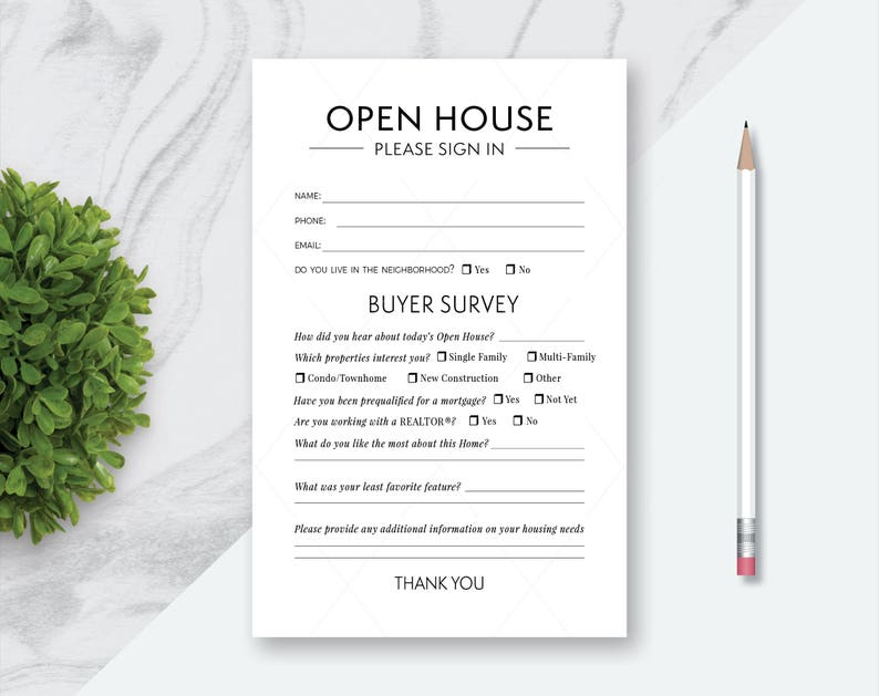 Buyer Survey Card Open House Real Estate Please Sign In Forms Individual Sign In Half Sheet Sign In Please Sign In and Buyer Survey Form