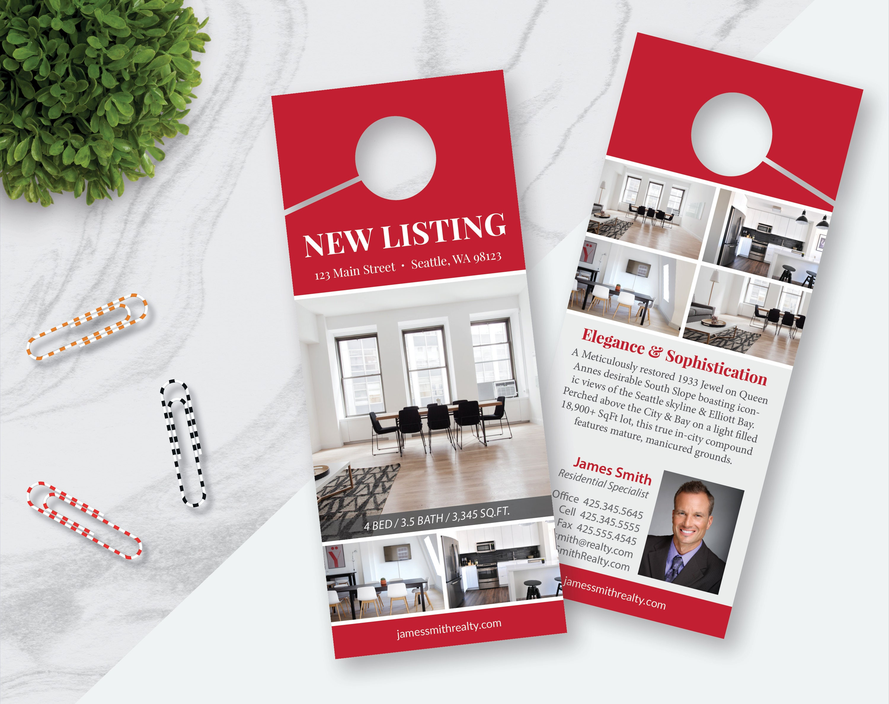 Real Estate Door Hanger Template 7 Photos Double Sided | Etsy