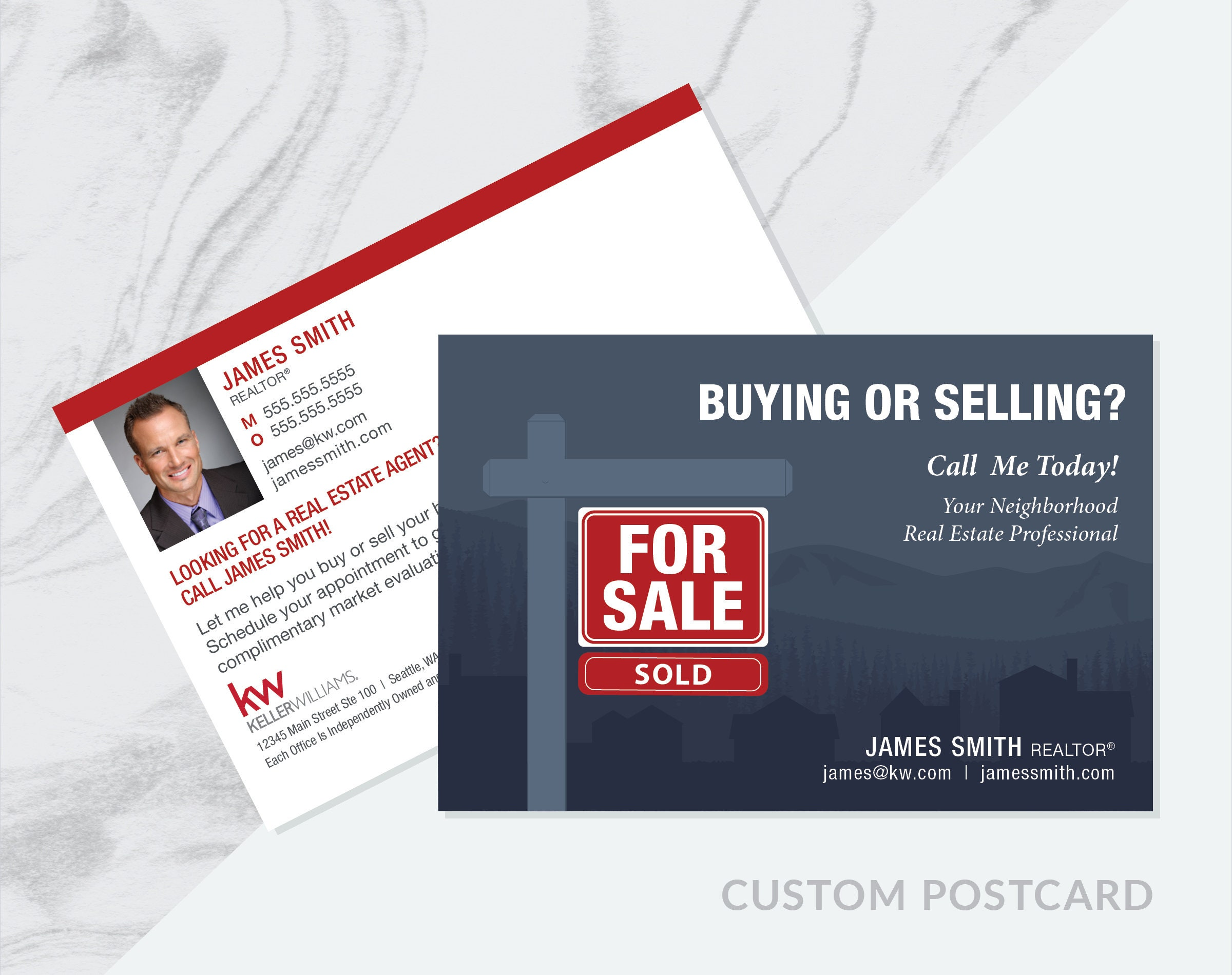 Custom BUYING or SELLING Real Estate Prospecting Postcard PDF