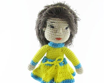 Handmade crochet doll is safe toy for toddlers. Perfect birthday gift for girl. Good kids toy for travel