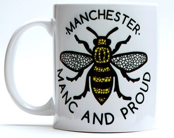 Manc and Proud Manchester Bee Mug (MUG1) Gift Northern Worker Bee Mosaic Northern Quarter Hipster