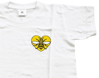 Yellow Heart Bee Kids T-Shirt - Produced in the UK Vinyl Print - Manchester Bee Manc and Proud Northern Hacienda Madchester