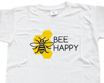 Bee Happy Honeycomb Kids T-Shirt - Produced in the UK Vinyl Print - Manchester Bee Manc and Proud Northern Hacienda Madchester Hexagon