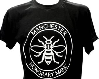 Black Honorary Manc Manchester Bee T-Shirt (TSHIRT42) Produced in UK Hacienda Northern Quarter Manc and Proud Vinyl Print