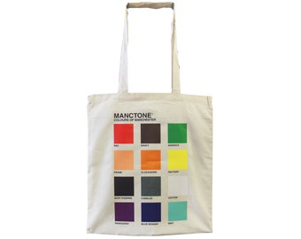 093ef26638b1 Cream MANCTONE Tote Bag - Produced in UK Designed by Manc and Proud -  Northern Hacienda Madchester Mancunian Rainbow Colour Indie Britpop