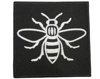 Manc and Proud Manchester Bee (PATCH685) Iron On Patch Embroidery Sewing DIY Customise Denim Cotton Hipster Northern Quarter Save the Bees