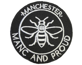 Manc and Proud Manchester Bee (PATCH684) Iron On Patch Embroidery Sewing DIY Customise Denim Cotton Hipster Northern Quarter Save the Bees