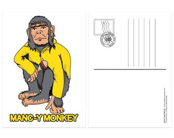 Manc-y Monkey Ian Brown Inspired Postcard - Produced in UK Stone Roses Northern Quarter 90s Britpop Madchester Mancunian Manchester Manc