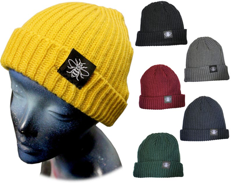 02eecea01 Manchester Bee Fisherman Trawler Beanie Hat -CHOOSE YOUR COLOUR!-  Embroidered Manc & Proud Mancunian Hipster Northern Hacienda Madchester