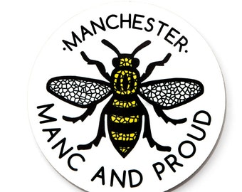 Manc and Proud Round Coaster (COASTER1) Manchester Bee Worker Bee Northern Quarter Mosiac Black and Yellow