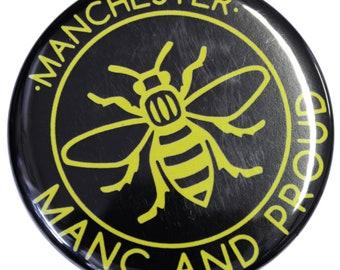 Manc & Proud Yellow Manchester Bee Magnet - Made in UK - Manchester Northern Gift Mosaic Bee Mancunian Hacienda Manc