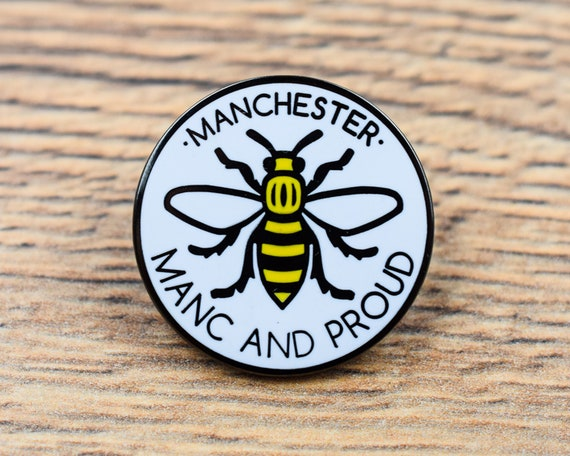 Nickel-Free Metal Brooch Manchester Worker Bee Enamel Pin Badge Manc and Proud Save the Bees Made in UK