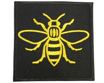 Manc and Proud Manchester Bee (PATCH686) Iron On Patch Embroidery Sewing DIY Customise Denim Cotton Hipster Northern Quarter Save the Bees