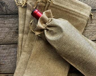 "Bulk Burlap Wine Bottle Gift Bags with Drawstring (Jute Wine Bag) - 6""x14"" Quantity 25"