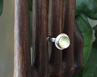 Peridot and Hammered Sterling Silver Ring, Minimalist, Statement, Girlfriend, Best Friend, Magical