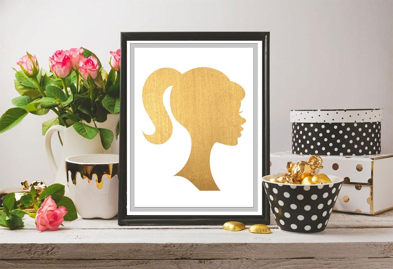 Gold Leaf Barbie Silhouette Wall Art Printable Art Digital | Etsy
