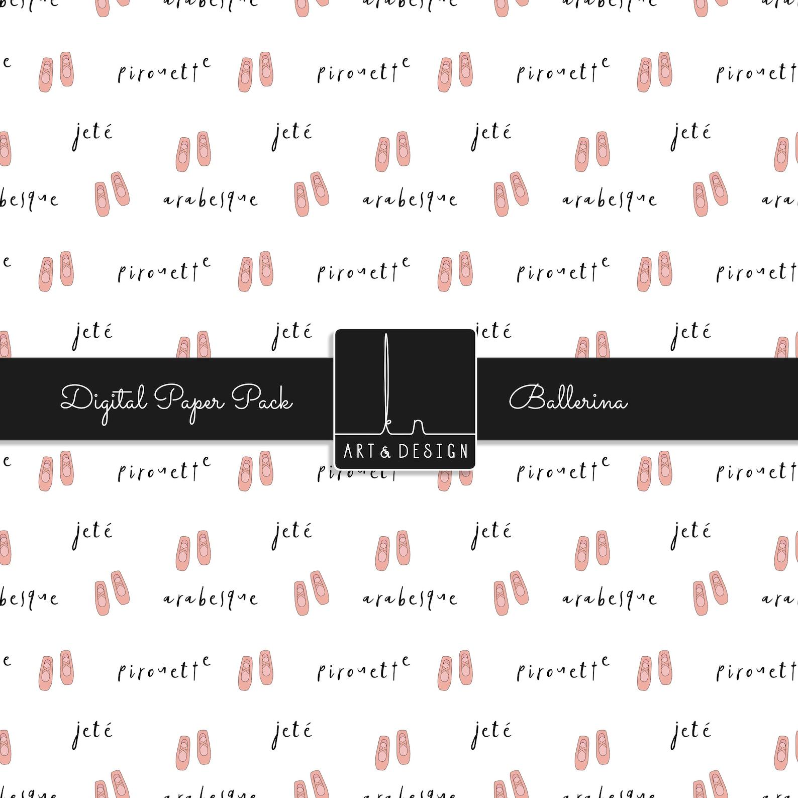 ballerina digital paper - ballet, ballet shoes, scrapbooking, seamless, pattern, background, instant download, digital paper