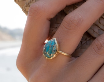 Copper Turquoise Tear Drop Ring ~ Gemstone ~ Natural ~ 18k Gold Plated ~ Jewelry ~ Handmade ~ December Birthstone MR122