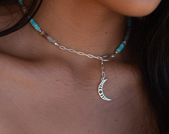 Half moon silver tone turquoise chain necklace set