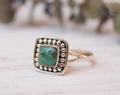 Turquoise Ring Sterling Silver 925 Handmade Everyday Statement Square Gift for her Boho Hippie Bohemian MR155