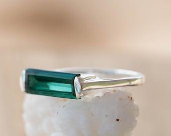 Green Tourmaline Hydro Ring ~ Sterling Silver 925 ~ Rectangular Stone ~ Jewelry ~ Handmade ~ Boho ~ MR231