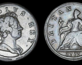 Genuine Old English Coin Antique George I Copper Half Penny 1717, British, Georgian