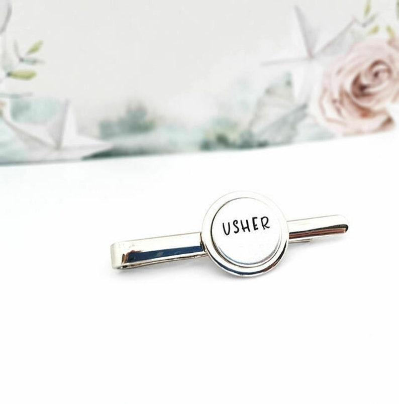hand stamped tie pin men/'s jewellery best man gift Groomsmen gift wedding gift wedding favour grooms party gift idea Best Man tie pin