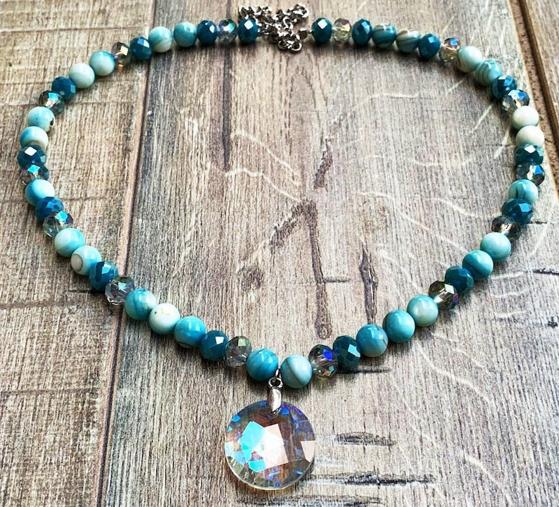 Beaded Necklace Crystal Blue