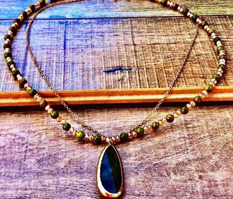 Beaded Necklace Golden Light