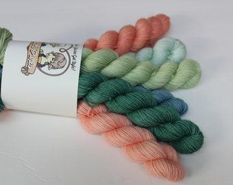 Tablecloth Mini Set - Superwash Merino Wool - Hand Dyed Yarn - Golden Girls inspired colors
