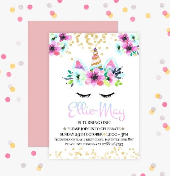 Unicorn Birthday Invitation Personalised