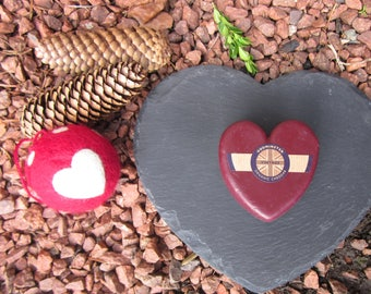 heart shaped slate cheese board and vintage  Christmas cheese  cheeseboard gift set