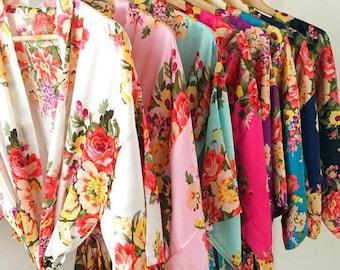 Kimono robes , bridesmaid robes dressing gowns made in silk satin floral bridal robes wedding robes bridesmaid robe