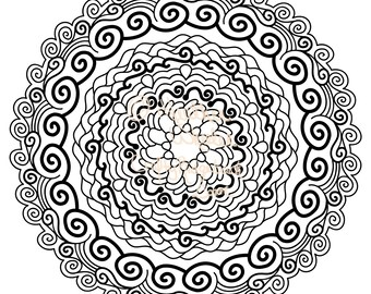 Adult Coloring Page, Printable Digital Download, Graphic Art